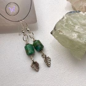 Ruby Fuchsite Silver Leaf Earrings